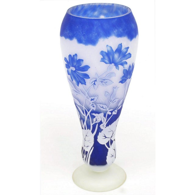 Asian Shannon Crystal of Ireland Mouth Blown Blue Cut Art Glass Vase For Sale - Image 3 of 8