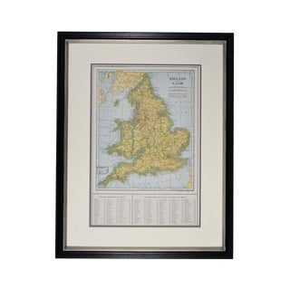 1920s Vintage Framed England Map For Sale