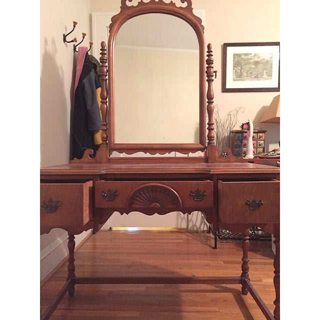 Antique Federal Maple Mirrored Vanity - Image 6 of 8