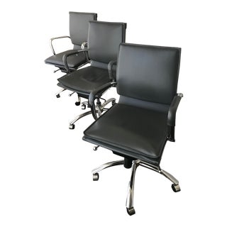 Eurostyle Grey Faux Leather Desk Chairs - Set of 3