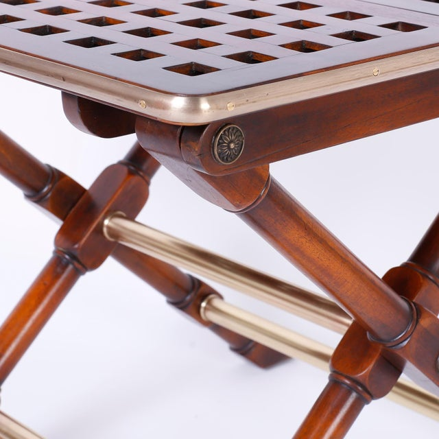 Wood Yacht Style Folding Tables - A Pair For Sale - Image 7 of 10