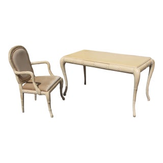 1960s Mid-Century Modern Palm Tree Design Writing Desk and Chair - 2 Piece Set For Sale