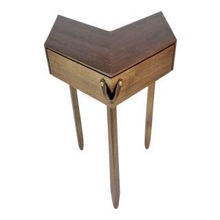 Modern Chevron Shape Walnut Wood Side Table For Sale