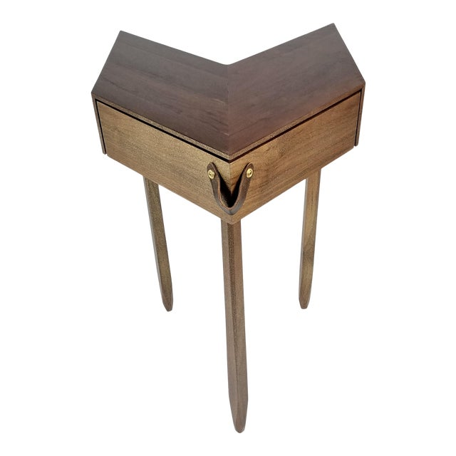 Modern Chevron Shape Walnut Wood Side Table For Sale