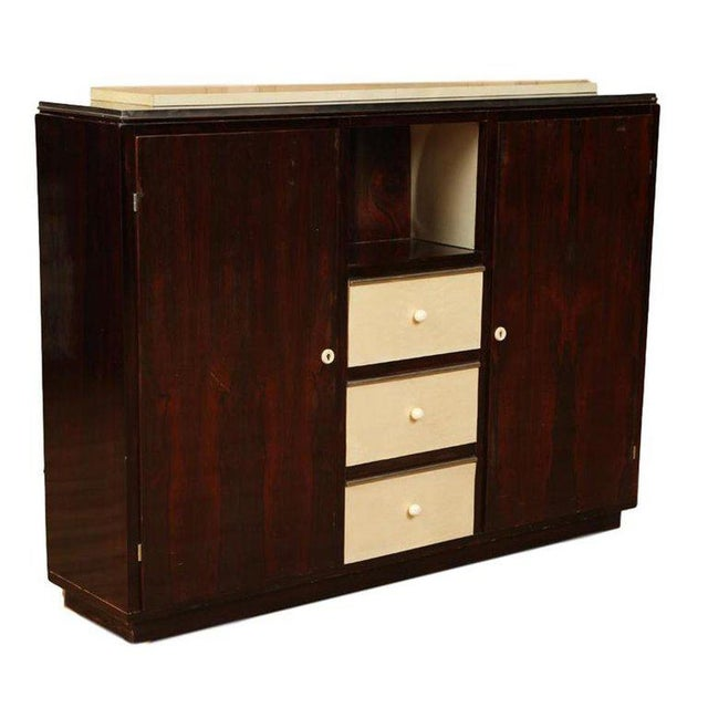Mid-Century Modern 1940s French Palisander and Parchment Cabinet For Sale - Image 3 of 5