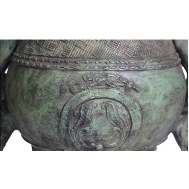 Classical Style Cast Bronze Verde Patina Urn With Two Cupids and Rams' Heads For Sale - Image 4 of 7