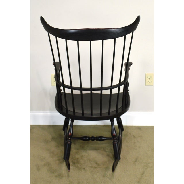 Custom Crafted Distressed Black Painted Windsor Rocker Rocking Chair For Sale - Image 4 of 13