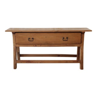 Vintage Pine Console Table With Drawer For Sale