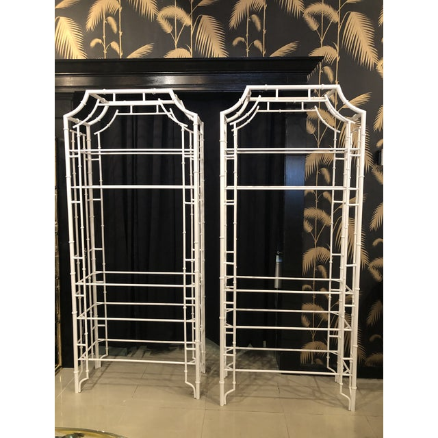 Asian Vintage Chinese Chippendale White Powder-Coated Faux Bamboo Pagoda Etageres - A Pair For Sale - Image 3 of 13