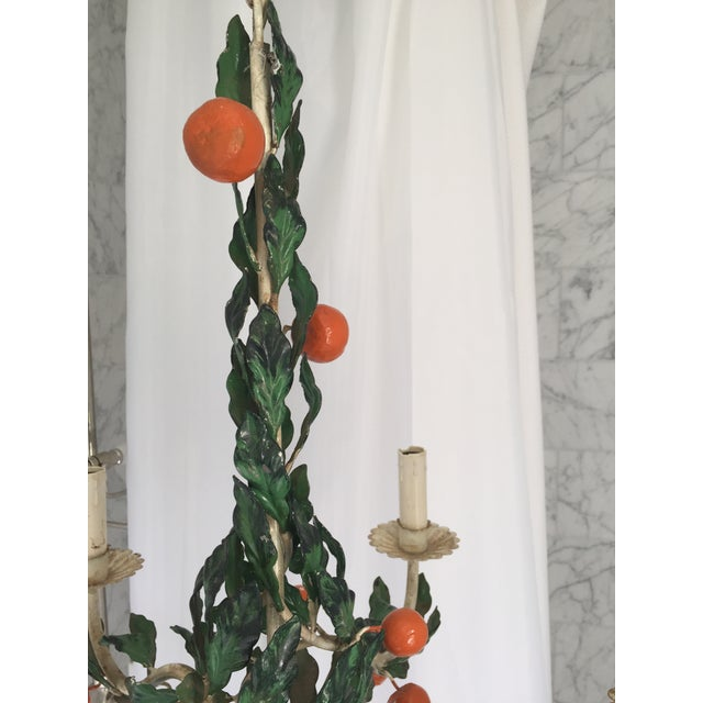 Italian Tole Painted Tangerine 5-Light Chandelier For Sale In New York - Image 6 of 11