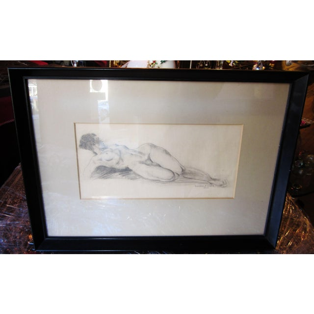 Vintage 1930s Art Deco Nude Portrait Life Figure Pencil Drawing Signed and Framed For Sale - Image 11 of 11