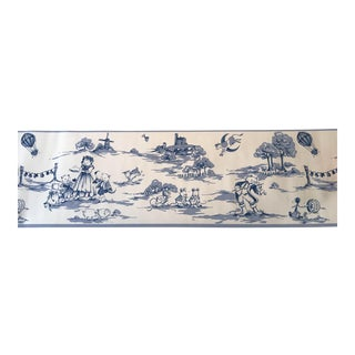 Blue and White Toile Nursery Rhyme Wallpaper Border - 1 Roll For Sale