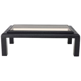 Cloth Wrapped Black Lacquer Glass Top Rectangular Coffee Table For Sale