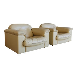 "De Sede ""Ds-101"" Leather Lounge Chairs - a Pair For Sale"