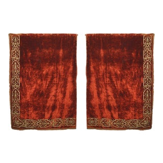 Scarlet Velvet Embroidered Drapes - a Pair For Sale