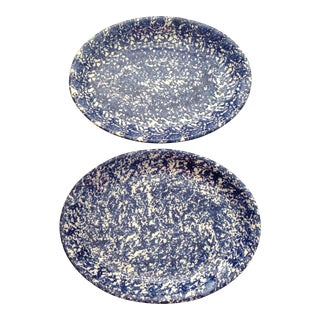 Vintage Italian Splatter Ware Porcelain Platters - A Pair For Sale