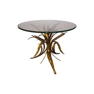 Rare Vintage Gilt Cattail Side Table For Sale