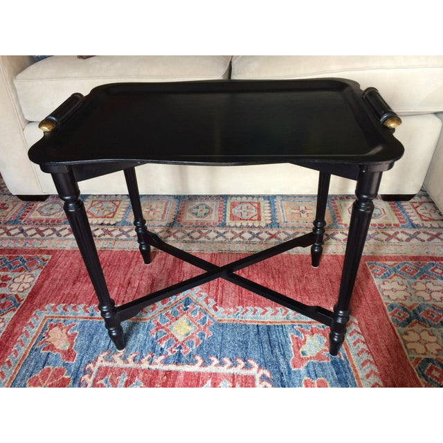 Black Tray Table With Gold Accents - Image 5 of 6