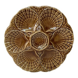 1950 Sarreguemines Majolica Oyster Plate For Sale