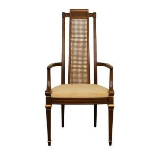Heritage French Regency Style Cane Back Dining Arm Chair For Sale