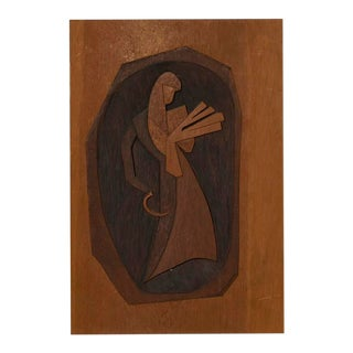 Vintage Modernist Wood Carving Art by Barnet Levy For Sale