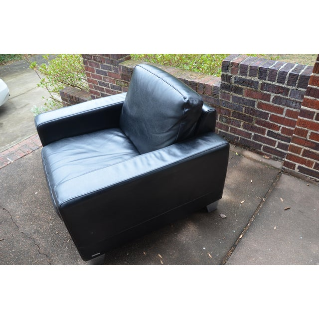 Italian Natuzzi Italian Modern Black Leather Club Chair For Sale - Image 3 of 9