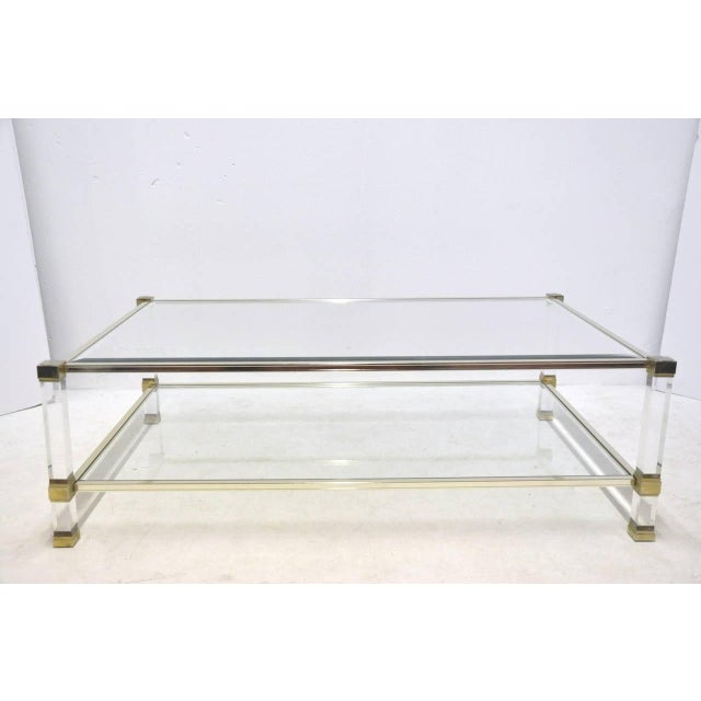 Pierre Vandel Lucite And Glass Coffee Table - Image 3 of 6