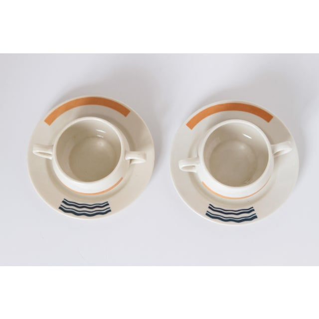 Eugene Schoen Pair Signed S.S. Leviathan Two-Piece Matched Serveware, Eugene Schoen and Lee Schoen by OPCO Syracuse China For Sale - Image 4 of 11