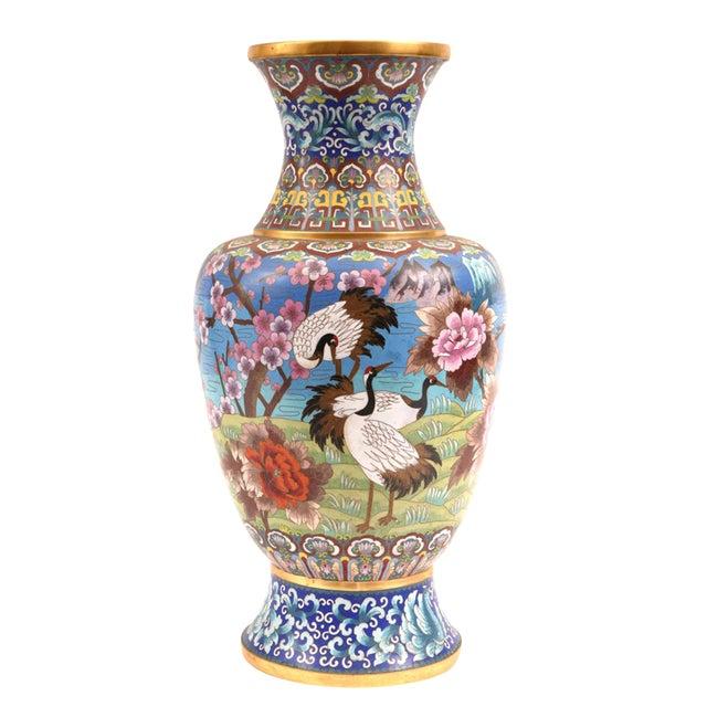 Large Decorative Cloisonné With Blossom Flowers Vase For Sale