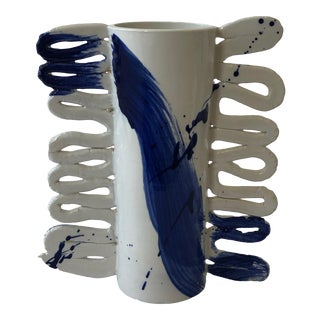 Contemporary Ceramic Cylinder Vase With Squiggle Handles- Cobalt Calligraphy For Sale