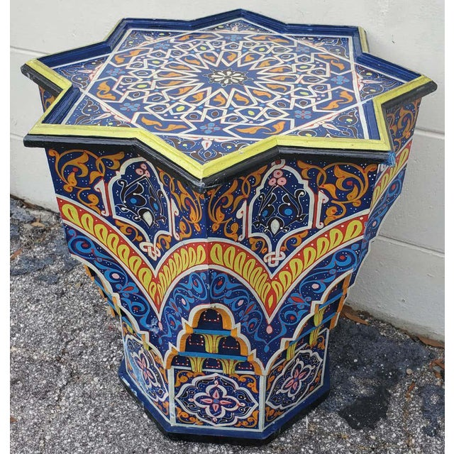 Islamic Moroccan Lg Ceuta 5 Painted and Carved Star Table, Multi-Color For Sale - Image 3 of 8