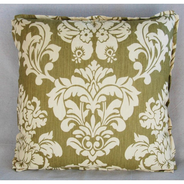 "21"" Designer Brule Fabric Randall Damask Feather/Down Pillows - Pair For Sale - Image 4 of 11"