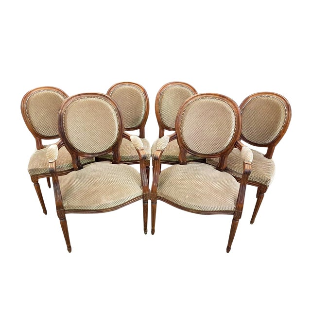 Set of 6 Louis XVI French Medallion Beige Velvet Dining Chairs Two Armchairs Four Side Chairs For Sale