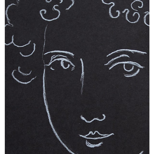 """Woman With Ringlets"" Minimalist Inspired White Charcoal Drawing by Sarah Myers For Sale In Kansas City - Image 6 of 6"