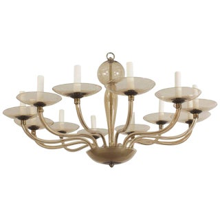 1930s Italian Murano Smoky Glass 12 Scroll Form Arms Chandelier For Sale