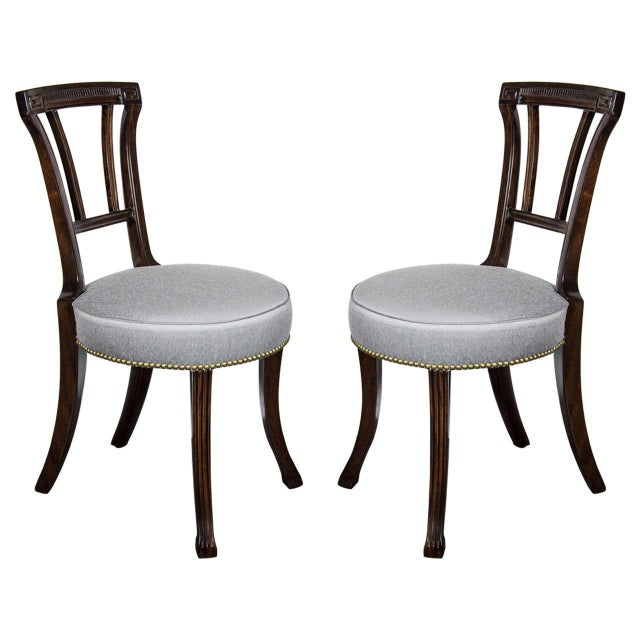 Textile Pair of 1940s Hollywood Greek Key Occasional Chairs by Grosfeld House For Sale - Image 7 of 7