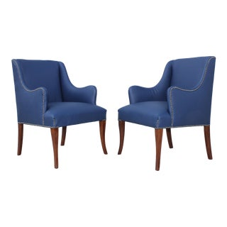 Mid-Century Modern Blue Leather Armchairs For Sale