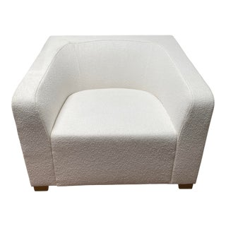 """Modern Decca Contract White Textile Upholstered With Ev Oak Veneer Frame """"Ellsworth 2"""" Lounge Chair For Sale"""