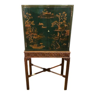1980s Chinoiserie Maitland Smith Lacquer Bar Cabinet on Stand For Sale