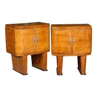 Exquisite Restored Pair Of Art Deco Small Cabinets In Walnut