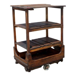 French Wood Leather Industrial Rolling Cart