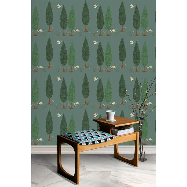 Contemporary Tranquility Wallpaper in Asparagus Green, Sample For Sale - Image 3 of 7
