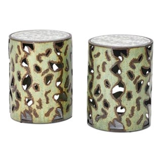 Brutalist Style Side Tables with Mirrored Tops - A Pair For Sale