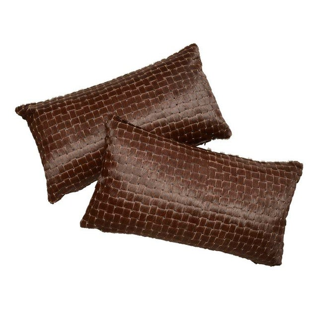 2010s Contemporary Chocolate Brown Laser Cowhide Pillow For Sale - Image 5 of 6