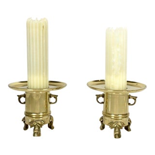 1950s Hollywood Regency Gold Candle Holders - a Pair For Sale