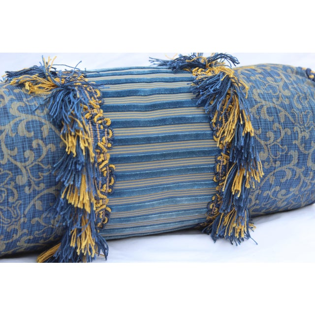 Contemporary Small Small Silk and Velvet Bolster Pillow in Blue and Gold For Sale - Image 12 of 13