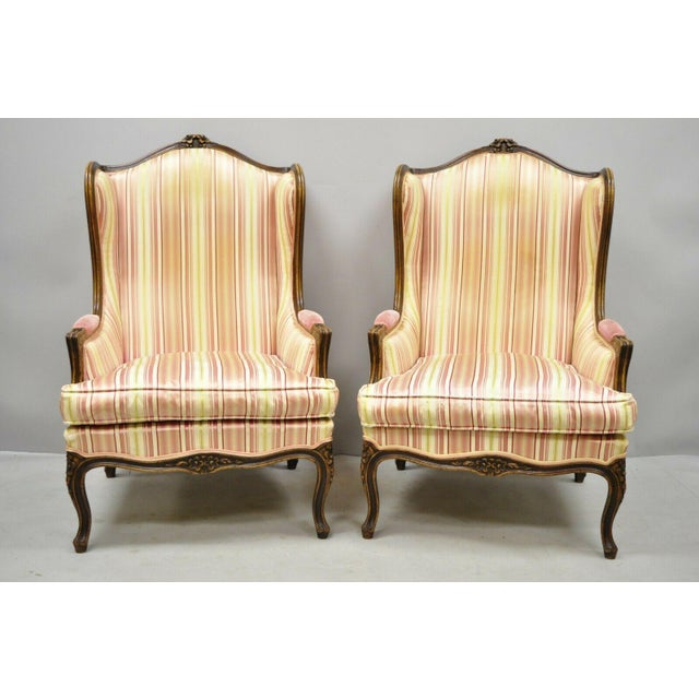 *Listing is for ONE pair of chairs, TWO sets are available* Pair of Vintage French Louis XV Style Wingback Bergere...