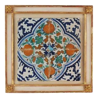 Antique 18th Century Dutch Deflt Polychrome Pomegranate Tile For Sale