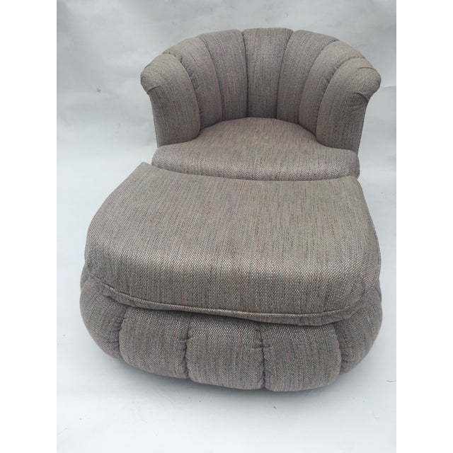 1980s 1980s Vintage Milo Baughman Style Shell Swivel Chair & Ottoman For Sale - Image 5 of 13