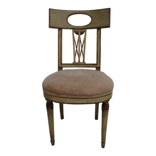 Vintage 1940s Baker Furniture French Regency Paint Decorated Desk Music Chair For Sale